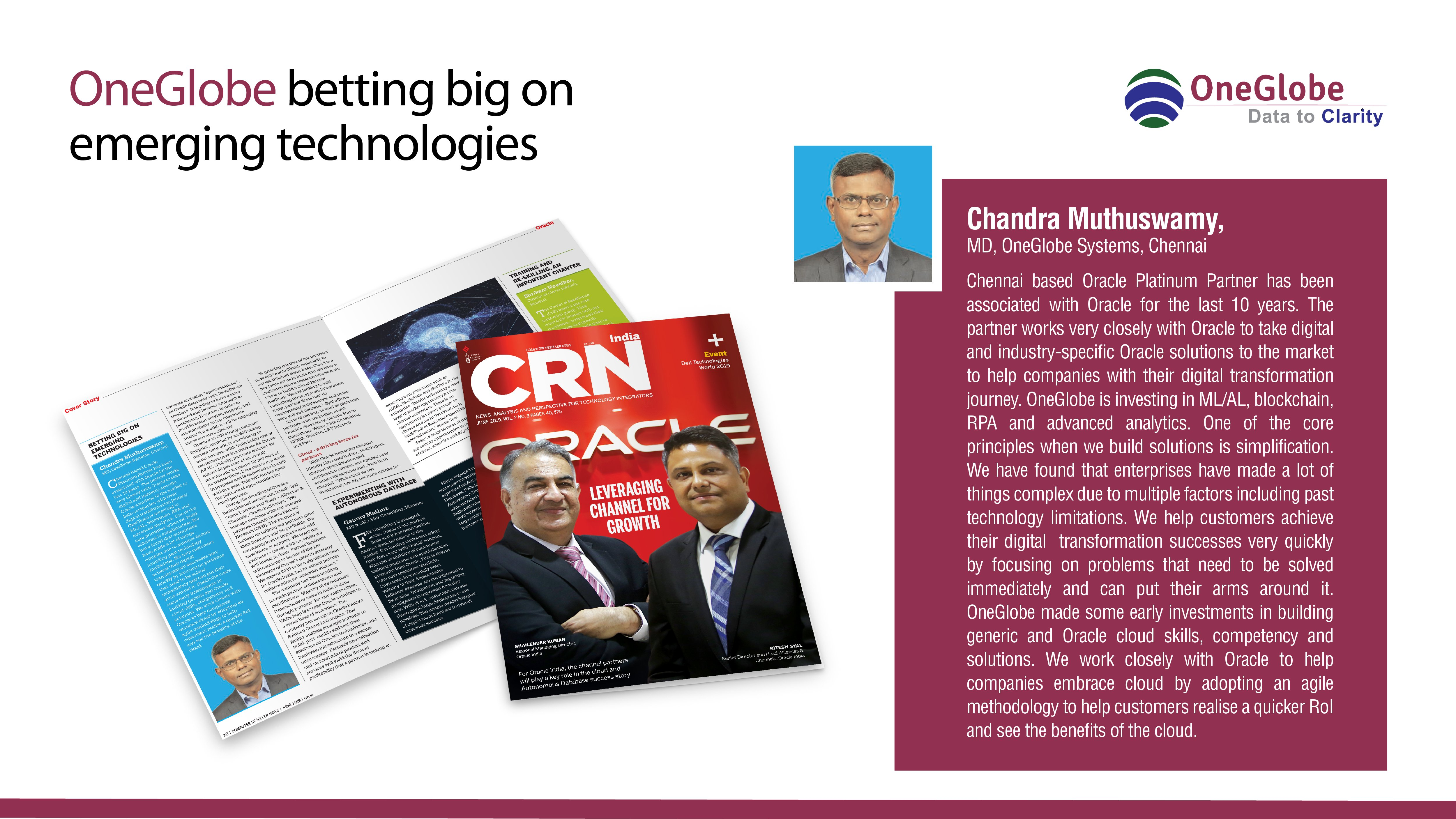 OneGlobe_gets_a_mention_in_CRN_India_s_cover_story_on_Oracle_-_June_Edition_2019